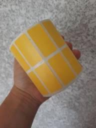 2 rolo etiqueta 50x30 (5x3) adesiva amarelo couche com 3.000 un por rolo.