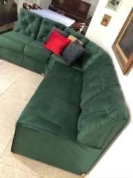 Título do anúncio: Sofa suede cinza em L novo sem uso