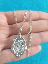 Conjunto novo São Jorge de prata maciça