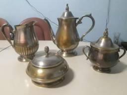 Conjunto de Chá Banhado a prata