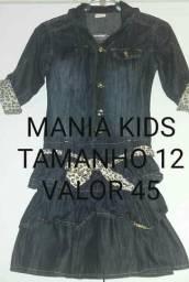 Vendo vestido jeans marca mania kids tamanho 12