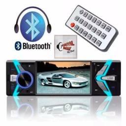 Multimídia 1 Din Mp5 Bluetooth 4 Pol Entrada Câmera Ré Htech! 279,99 À Vista ou 12x 28,00