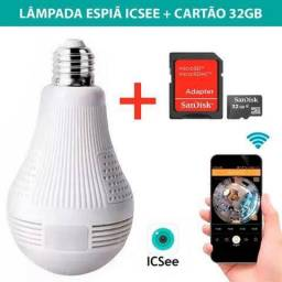 Lâmpada Câmera 360º Espia Ip Wifi Wif Icsee + Cartão 32gb