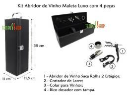 Kit Abridor de Vinho 4 peças com Maleta - Novo