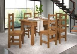 Mesa 160x80 com 6 Cadeiras 100% Madeira