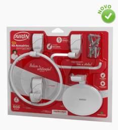 Kit Acessórios para Banheiro Sofisticato 4 peças Branco Durin
