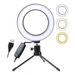 Ring Light Tripé Iluminador de Mesa - Carregamento USB!!!