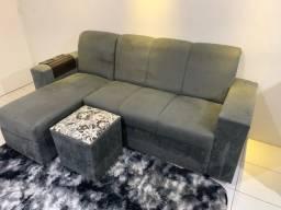 Sofá chaise com puff. Praticamente novo