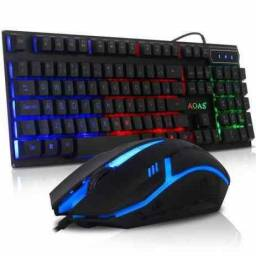 Título do anúncio: Kit AOAS Gamer: Teclado Semi-Mecanico RGB Rainbow + Mouse Gamer com LED