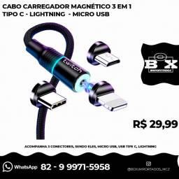 Cabo Carregador Magnético 3 Em 1 Tipo C/lightning Micro Usb