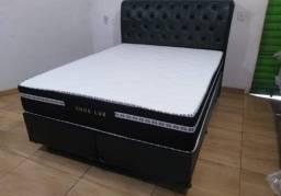 Título do anúncio: Conjunto Base Box Queen no Suede Com Colchão D28 R$1499,99