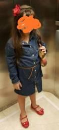 Lindo vestido jeans tam10  vem com o cinto  novinho