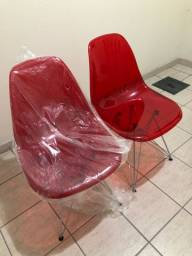3 cadeiras de acrílico pé de ferro cromado