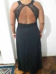 Vestido de Festa Preto Plissado
