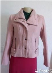 Casaco de lã  batida cor rosa