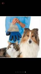 Luva massageadora e removedora de pêlos de cães e gatos