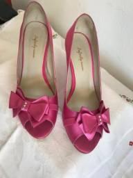 Sapato cetim pink n38 laço lateral