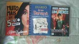 Vendo livros: muito + que 5 minutos, dois mundos um herói, diário de um banana 2