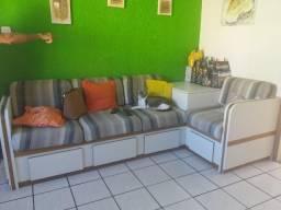 Móvel sofá em L 4 lugares madeira e MDF