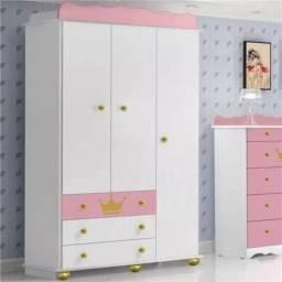 Guarda roupa infantil princesa 3 portas e 3 gavetas C563