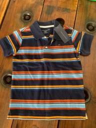 Camisa Polo Infantil Tommy Hilfiger listrada manga curta Tam. 4-5