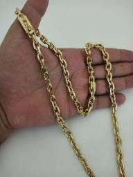 Cordão masculino 8mm banhado a ouro modelo cadeado