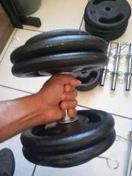 Kit Musculação! 40KG de Anilhas, 2 barras ocas 30cm, 1 Barra oca 1,20 !