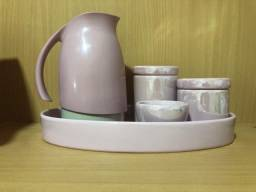 12 x $13,-Kit Higiene Bebe Porcelana Rosa Garrafa Térmica Bandeja