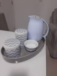 Kit higiene de bebê - cor azul, cinza e branco