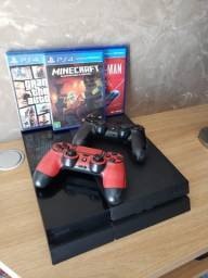 PS4 de fábrica com 2 controles + 3 jogos descritos abaixo