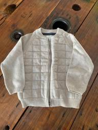Casaco Knit Infantil Zara Baby Creme com zíper Tam. 3-4