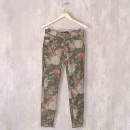 calça jeans verde floral - Zara
