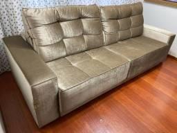 Sofa suede dourado 2,5mx1,06m