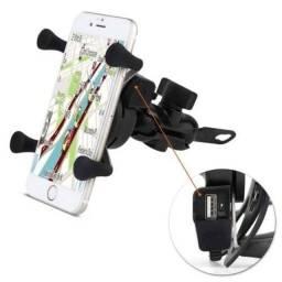Suporte com porta USB para carregar celular e GPS