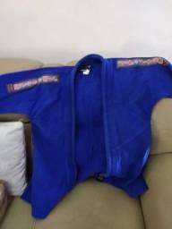 Kit Kimono Azul + calça branca e 2 faixas (amarela e branca)