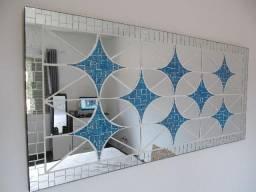 Quadro Novo c Mosaico de Espelhos Figura Geométrica em 3D