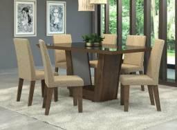 CONJUNTO DE MESA COM 6 cadeiras almofadadas novo entrega e montagem grátis