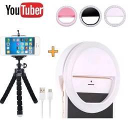 Kit Tripé Flexível Para Celular + Luz Ring Light Led Flash Recarregável Kit Youtuber