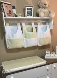 Kit porta fraldas e acessórios de limpeza do bebê