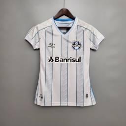 Camiseta Feminina Grêmio Branca e Rosa