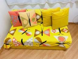 Sofá-cama 2 lugares copy tokstok couro amarelo