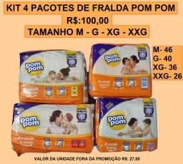 Título do anúncio: Kit 4 Pacotes De Fralda Pom Pom G 40 Unidades