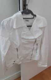 Jaqueta linda branca de sarja