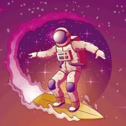 Adesivo de Porta Decorativo - Astronauta