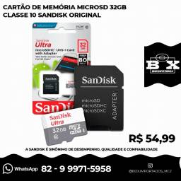 Cartão Memoria Microsd 32gb Sandisk Classe 10 Ultra 80mb/s F Original