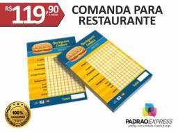 Fábrica de Comandas para restaurante personalizadas.