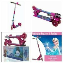 Patinet Infantil 3rodas Frozen Disney Rosa outros Scooters C/buzina Femwnino mascolino okm