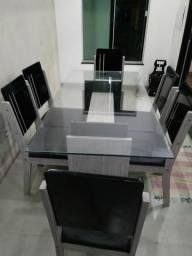 Mesa de vidro 6cadeiras
