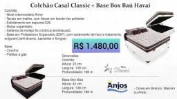Colchão casal + base box baú