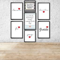 Conjunto de 7 Quadros Decorativos Amor, Familia, Gratidão, Paz
